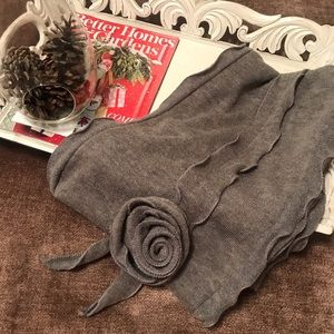 Gray Scarf with Rosette Detail
